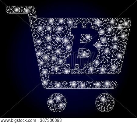 Shiny Mesh Polygonal Bitcoin Webshop With Light Spots. Illuminated Vector Constellation Created From