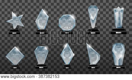 Winner Glass Trophy. Glass Trophy Award. First Place Award, Crystal Prize And Signed Acrylic Trophie