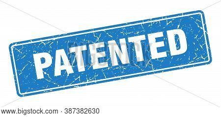 Patented Stamp. Patented Vintage Blue Label. Sign