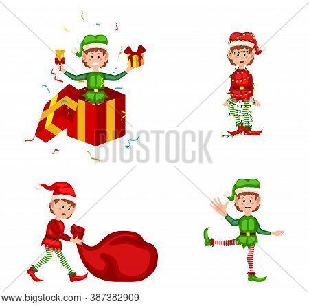 Funny And Joyful Santa Helper Sending Holiday Gift And Decoration Christmas Tree. Set Of Cute Playfu