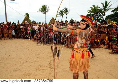 Santa Cruz Cabralia, Bahia / Brazil - April 21, 2009: Indians Of The Pataxo Ethnic Group Participate