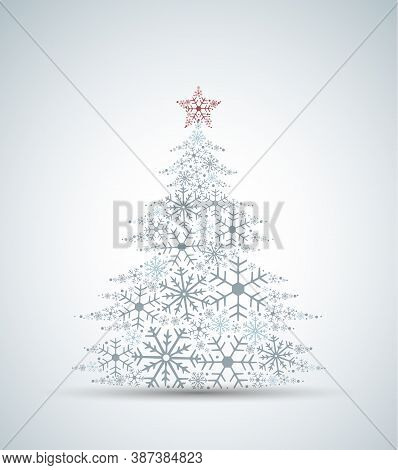 Vector Illustration Of A Christmas Tree. Christmas Tree Made Of Snowflakes. Merry Christmas And Happ