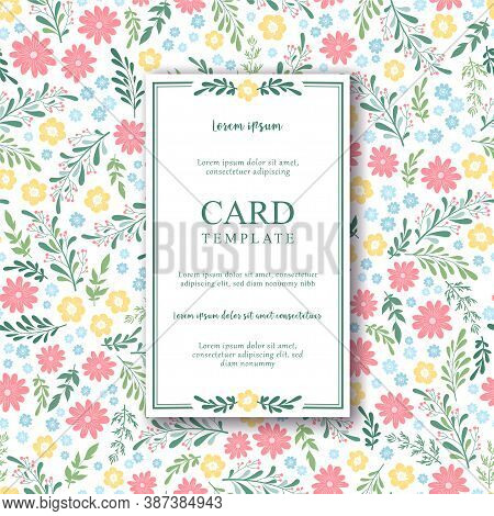 Floral Vector Card With Small Hand Drawn Colorful Flowers, Leaves And Floral Elements On White Backg