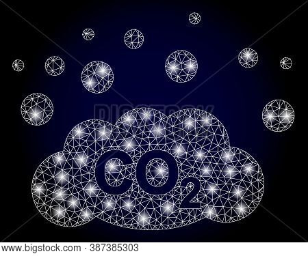 Bright Mesh Polygonal Co2 Gas Emission With Lightspots. Illuminated Vector Model Created From Co2 Ga