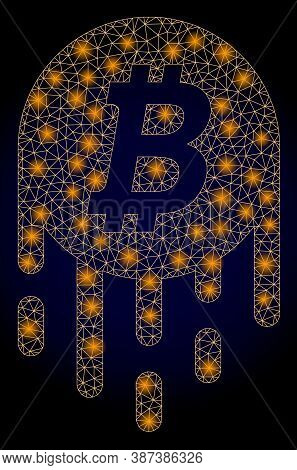 Glowing Mesh Polygonal Melting Bitcoin With Light Spots. Illuminated Vector Model Created From Melti