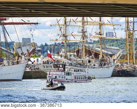 Rouen, France - June 8, 2019. Aerial View Of Armada Exhibition Greatest Sailboats At Rouen Dock On S