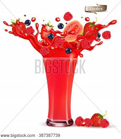 Red Berry Juice Splash. Whole And Sliced Strawberry, Raspberry, Cherry Blueberry And Guava In A Swee