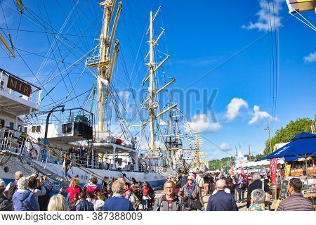 Rouen, France - June 8, 2019. Point View From Dock Of Armada Exhibition, Greatest Sailboats At Rouen