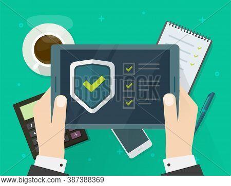 Security Verification Check List Digital Test On Tablet Computer Software Guard Online Vector, Inter