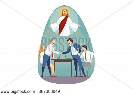 Religion, Support, Business, Christianity, Meeting Concept. Jesus Christ Son Of God Messiah Helping
