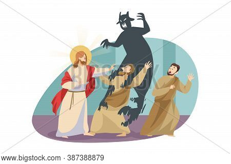 Christianity, Religion, Protection, Devil Concept. Jesus Christ Son Of God Messiah Gospel Biblical R