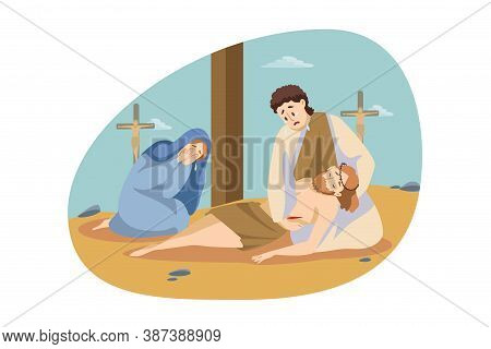 Christianity, Religion, Bible Concept. Maria And Simon Sitting And Crying Near Dead Body Ofjesus Chr