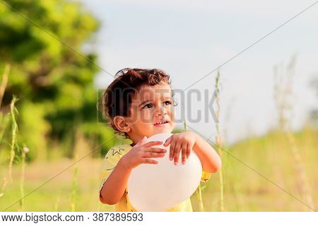 Asian Child Playing Outdoors With Balloon.portrait Of Cute Smiling Little Boy, Portrait Of A Child B