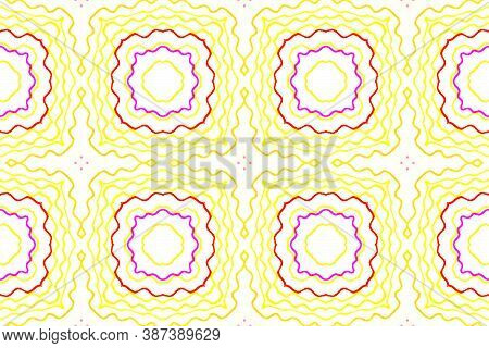 Azulejo Ornament. Textures Ethnic. Boho Motif Tile Design. Wave Red And Yellow Lines. Handmade Ink R