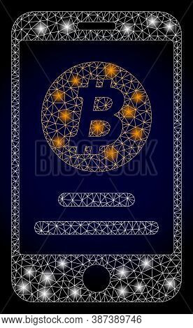 Glowing Mesh Web Mobile Bitcoin Account With Glowing Spots. Illuminated Vector Model Created From Mo