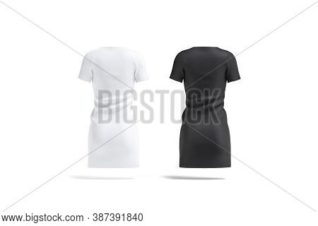 Blank Black And White Cloth Dress Mockup Set, Back View, 3d Rendering. Empty Textile Casual Jersey O