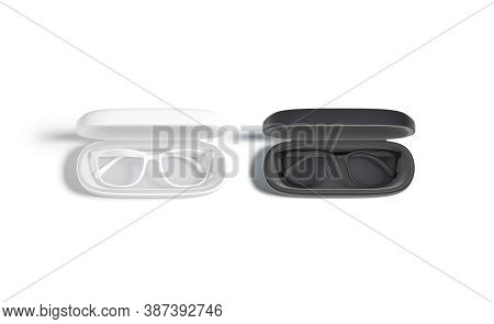 Blank Black And White Opened Case With Glasses Mock Up, 3d Renderimg. Empty Leather Spectacle-case M