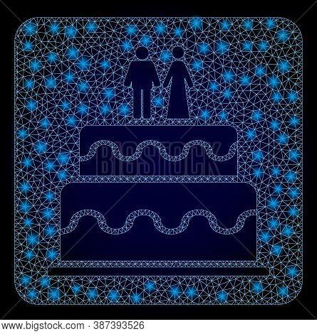 Shiny Mesh Web Marriage Cake With Light Spots. Illuminated Vector Model Created From Marriage Cake I