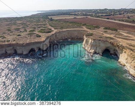 The Coastline With Cliffs And Caves At The Plemmirio, Syracuse