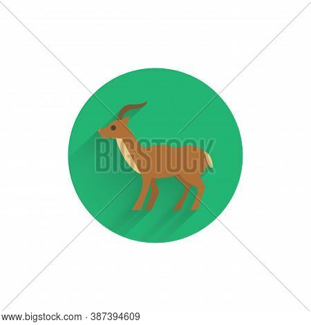 Antelope Colorful Flat Icon With Long Shadow. Antelope Flat Icon