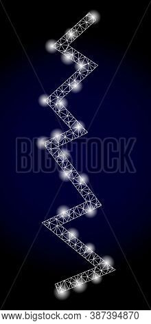 Glowing Mesh Web Zigzag Line With Lightspots. Illuminated Vector Constellation Created From Zigzag L