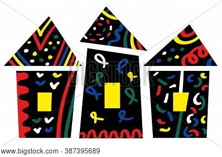 Decorative Cartoon Colorful Houses. Oriental Fairy Nahd Drawn Buildings, Vector Illustration Of City