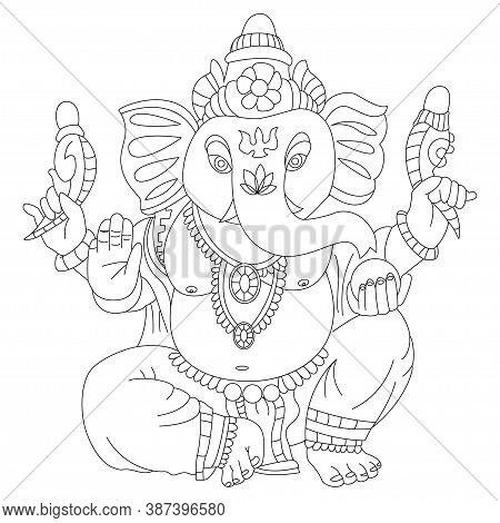 Coloring Book Page Of Lord Ganesha Vector Cartoon Illustration. Hindu God Isolated On White Backgrou
