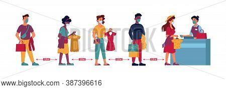 Clothing Store Social Distance, People In Masks Queue Line With Clothes In Hands, Vector Flat. Coron