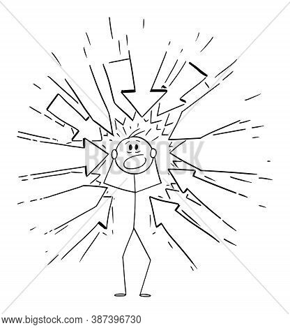 Vector Cartoon Stick Figure Drawing Conceptual Illustration Of Stressed Man With Many Arrows Pointin
