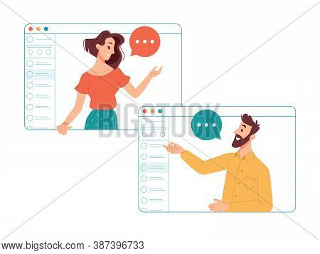 Man And Woman Communicating Online Via Internet Using Video Call Application. Friends Talking And La