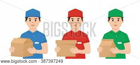 Goods Delivery Service. Man Deliver Or Postman. Couriers With Boxes In Hands. Vector Illustration