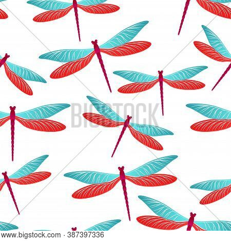 Dragonfly Simple Seamless Pattern. Repeating Dress Fabric Print With Damselfly Insects. Close Up Wat