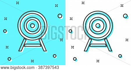 Black Line Target With Arrow Icon Isolated On Green And White Background. Dart Board Sign. Archery B