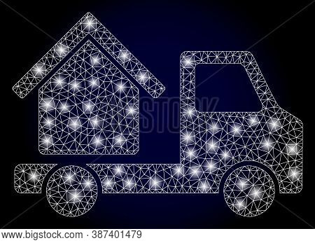 Glare Mesh Polygonal House Trailer With Lightspots. Illuminated Vector Model Created From House Trai