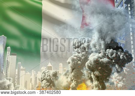 Huge Smoke Column With Fire In The Modern City - Concept Of Industrial Catastrophe Or Terrorist Act