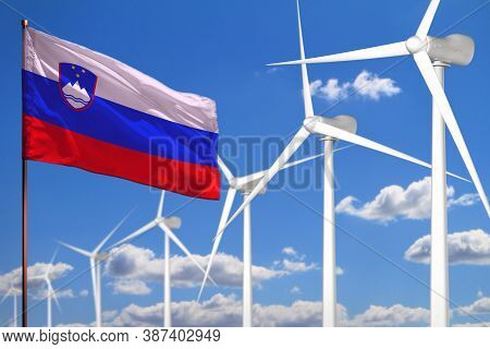 Slovenia Alternative Energy, Wind Energy Industrial Concept With Windmills And Flag - Alternative Re
