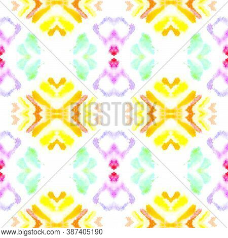 Ethnic Water Color Pattern. Tie-dye Boho Abstract Ceramic. Colorful Summer Background. Artistic Pain