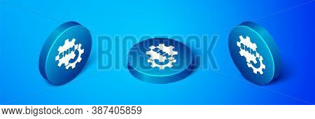 Isometric Smm Icon Isolated On Blue Background. Social Media Marketing, Analysis, Advertising Strate