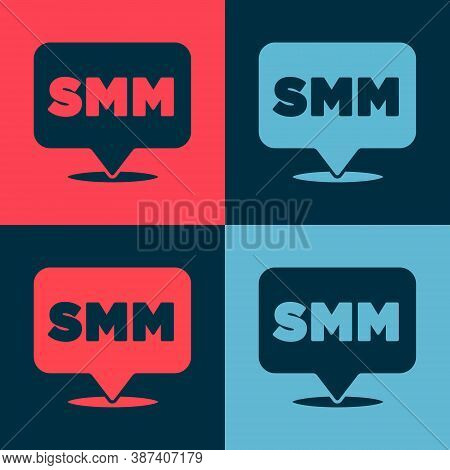 Pop Art Smm Icon Isolated On Color Background. Social Media Marketing, Analysis, Advertising Strateg