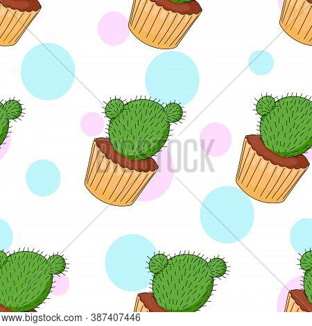 Cactus In The Form Of Cupcake. Seamless Pattern Of Cactus On White Background. Funny Dessert On A Ba