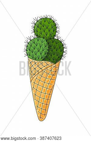 Cactus In The Form Of Ice Cream Balls. Funny Ice Cream In The Horn. Succulent In Cartoon Style On A