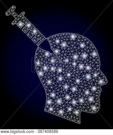 Shiny Mesh Polygonal Head Injection With Lightspots. Illuminated Vector Constellation Created From H