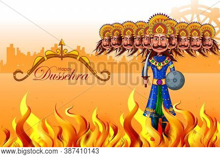 Ravana In Happy Navratri Festival Of India With Hindi Word Meaning Dussehra