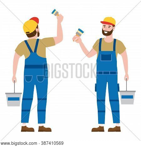 Construction Worker Painter With Brush And Paint Bucket In Workwear. Back And Front View Craftsman C