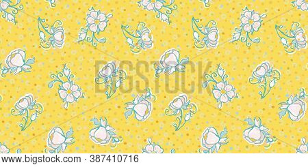 Retro Folk Art Flower And Dot Pattern. Vector Illustration. Retro Wild Rose, All Over Pattern. Vinta