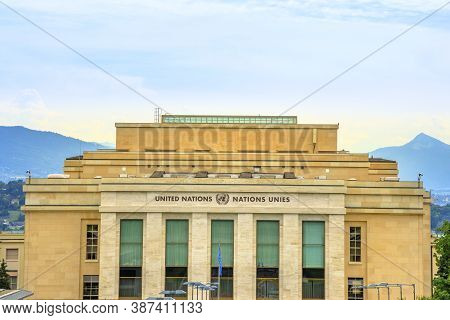 Geneva, Switzerland - Aug 16, 2020: Aerial View Of United Nations Offices Or Palais Des Nations In A