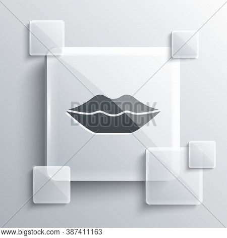 Grey Smiling Lips Icon Isolated On Grey Background. Smile Symbol. Square Glass Panels. Vector