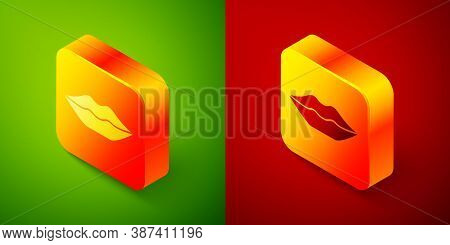 Isometric Smiling Lips Icon Isolated On Green And Red Background. Smile Symbol. Square Button. Vecto