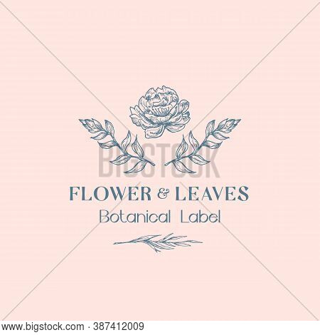 Flower An Leaves Abstract Vector Sign, Symbol Or Logo Template. Hand Drawn Sketch Peony And Leaf Bra