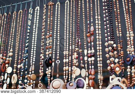 Wooden Beads And Pendants Accessory Close Up Marketplace